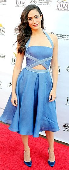 Emmy Rossum looked youthful in a light blue Pamella Roland dress matched with sapphire satin heels.