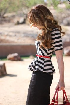 fashion, red, peplum tops, outfit, black white, belt, pencil skirts, stripe, shirt