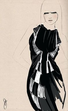 Dessin de Sandra Suy (1977) illustratrice espagnole de mode qui vit et travaille à Barcelone.