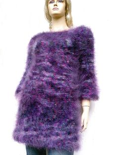 Super Soft Luxury Mohair Sweater Tunic Dress Purple by KoolKnit, $165.00