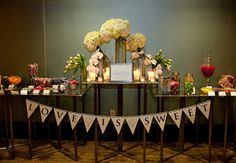 Dessert table decor #BudgetRusticWedding … Budget wedding #ideas for brides, grooms, parents & planners ... https://itunes.apple.com/us/app/the-gold-wedding-planner/id498112599?ls=1=8 ♥ The Gold Wedding Planner iPhone App ♥ + tips on how to have a dream wedding, within any budget.