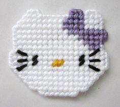 Hello Kitty magnet in plastic canvas purple bow by AuntCCcreations, $2.50 kitti magnet, plastic canva