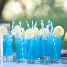 Blue long island ice tea: 1/2 oz Vodka 1/2 oz Tequila 1/2 oz Rum 1/2 oz Gin 1/2 oz Blue Curacao Build over ice and strain garnish with a pineapple, lemon, or orange slice