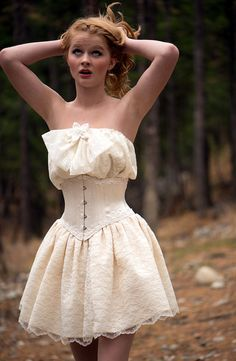 Short Wedding Dress Lace Corset and skirt by LaBelleFairy on Etsy, $799.00