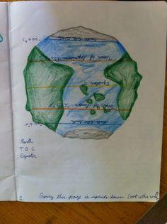 Grade 8 Waldorf Chalkboard drawing of earth