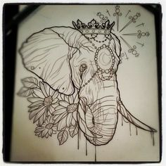 Done by Dave Olteanu. - THIEVING GENIUS elephant flower bohemian tattoo
