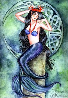 Mermaid Artwork   ... mystic-mermaid fairy watercolor original art painting fantasy