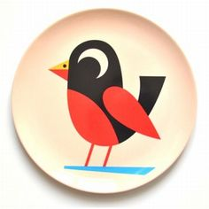 Cute #bird melamine plate by #Ingela from www.kidsdinge.com https://www.facebook.com/pages/kidsdingecom-Origineel-speelgoed-hebbedingen-voor-hippe-kids/160122710686387?sk=wall