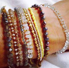 Bracelets Lena Skadegard in pearls and gemstones.