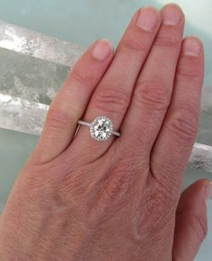 Moissanite Engagement Ring in 14k Gold Diamond by PristineJewelry, $1890.00