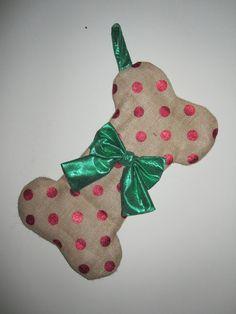 Burlap Dog Bone Christmas Stocking Personalized