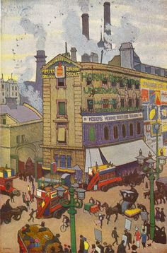 """G Maresco Pearce's 1914 """"Summer in London"""" really catches the hurly-burly of life at the junction of Tottenham Court Road, New Oxford St, Oxford Street and Charing Cross Road."""