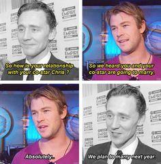 geek, chris hemsworth, marvel, loki, funni, bromanc, aveng, fandom, tom hiddleston