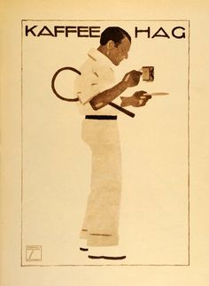 Vintage Tennis Player Kaffee Hag Poster, 1926