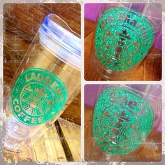 """Personalized """" Starbucks"""" Coffee 16oz. or 24 oz Glitter Tumbler  - Hot or Cold Beverages."""