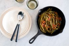 Slow-Braised Green Beans w/ Fresh Tomatoes