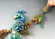 clays, craft, polymer clay tutorials, necklac, beads, peacock polymer clay, polym clay, clay item, bead tut