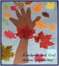 Hand print and leaf stickers Autumn tree