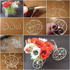 How to DIY Decorative Wire Cart Planter for Flower Bouquet
