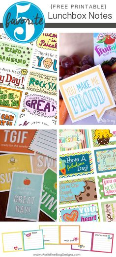 Free Printable Lunchbox Notes Favorite 5