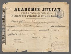 Academie Julian receipt belonging to Maurice Prendergast,  June 6, 1892 at Williams College Museum of Art, Prendergast Archive and Study Center