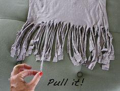 DIY fringe scarf diy fring, diy scarv, craft, fring scarf, diy t shirt fringe, diy cloth, diy idea, scarves, diy scarf