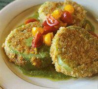Fried Green Tomatoes with Arugula Pesto and Cherry Tomato Relish