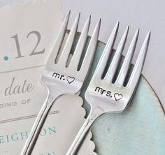 MR.  MRS. Hand Stamped Vintage Wedding Cake Forks http://pinterest.net-pin.info/