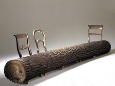 Tree-trunk bench by Jurgen Bey