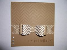 hahdmade card ... clean and simple ... square format ... chevron embossing folder on top ... layered paper bow of patterned papers ... monochromatic kraft ... wonderful card!