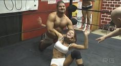 Amanda Ruffin in mixed wrestling action