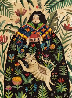 Inspired by naturalistic illustrations, oriental textile patterns, naive art, legends and folklore, Aitch creates colorful watercolor illustrations on paper, intricate beasts with bodies composed of birds, wolves, snakes, flowers, all evoking fantastical scenes of splendor and malice.