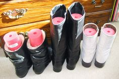 pool noodle in your boots to keep their shape