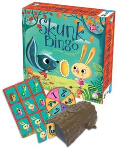 Skunk Bingo Board Game (759751004125) Sweet Smelling Game 2 to 4 players Playing time 15 minutes Contains 48 tiles, 4 game boards, 1 log, 1 spinner, rules of play and rules in Spanish Ages 3 and up