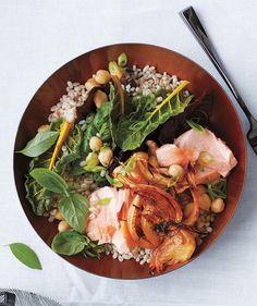 Salmon Health Bowl: Roasted salmon, barley, smoked paprika fennel, Swiss chard, chickpeas, basil, scallions