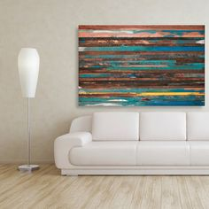 Abstract Painting on Wood Reclaimed Wood Sculpture Wall Art Modern