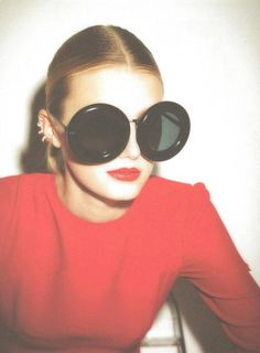 Giant sunglasses + ear cuffs. Fab.