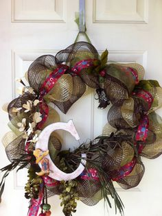 My first deco mesh wreath, country western...