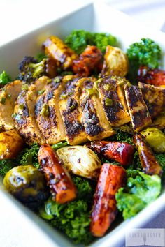 #Paleo #Kale #Salad with Chicken, Roasted Veggies & Orange Sesame Vinaigrette. Unbelievably good and even better for you! #dairyfree #glutenfree