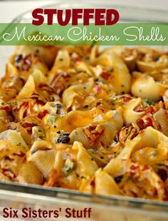 Stuffed Mexican Chicken Shells {Freezer Meal} - GREAT four for one recipe!  Cook up a whole package of chicken breasts.  Make one dish for dinner and one to freeze.  Extra filling to freeze for wraps.  Extra cooked chicken to freeze for two more recipes calling for already-cooked chicken!