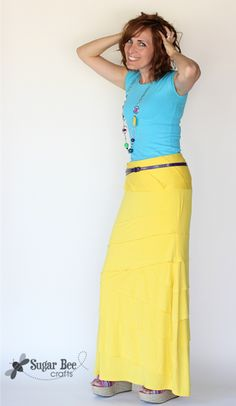 make a knit maxi skirt super easily (refashion)