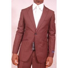 Europen Style One Button Suit | Coffee Brown
