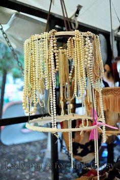 DIY...pearl-embellished lampshade frame! junky & fab!