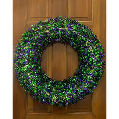 24-inch Metallic Tinsel Mardi Gras Wreath