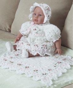 Maggie's Crochet · Rose Christening Set Crochet Pattern