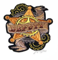 Deputy Sheriff Wild West SteamPunk Badge Iron On Embroidery Patch MTCoffinz -small