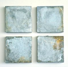 "Turchese I-IV  10"" x 10"" each  Mixed media on canvas with ground turquoise"