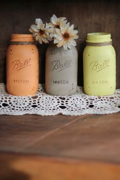 Wedding  Home Decor-Painted and Distressed Mason Jar-Rustic-Shabby Chic- Centerpiece-Vase