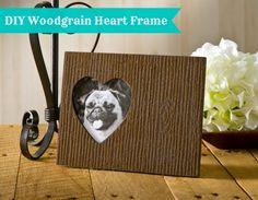 DIY woodgrain heart frame