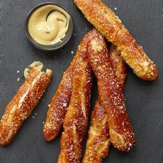 German Soft Pretzel Sticks | You can eat these slightly sweet, chewy, dark pretzel sticks plain or with mustard.